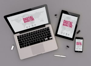 3d render of digital marketing responsive devices with laptop computer, tablet pc and touchscreen smartphone. top view. All screen graphics are made up.